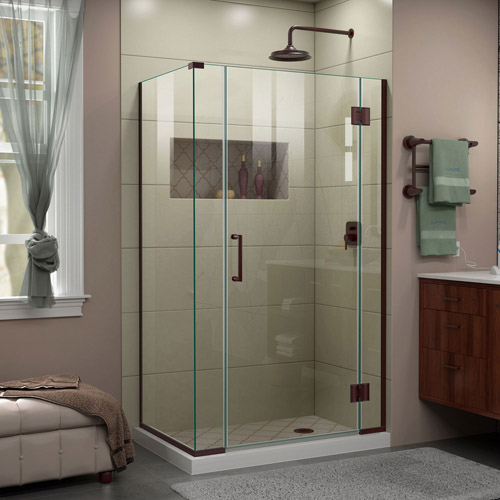 DreamLine Unidoor-X 40  in. W x 30 3/8 in. D x 72 in. H Frameless Hinged Shower Enclosure in Oil Rubbed Bronze