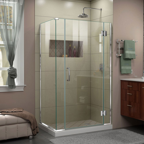 DreamLine Unidoor-X 40 1/2  in. W x 30 3/8 in. D x 72 in. H Frameless Hinged Shower Enclosure in Chrome