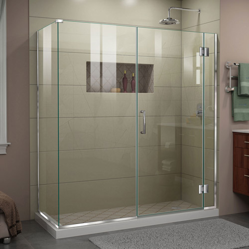 DreamLine Unidoor-X 64  in. W x 30 3/8 in. D x 72 in. H Frameless Hinged Shower Enclosure in Chrome