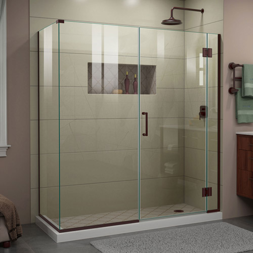 DreamLine Unidoor-X 64  in. W x 30 3/8 in. D x 72 in. H Frameless Hinged Shower Enclosure in Oil Rubbed Bronze