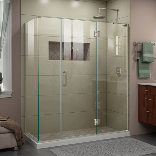 DreamLine Unidoor-X 64  in. W x 30 3/8 in. D x 72 in. H Frameless Hinged Shower Enclosure in Brushed Nickel
