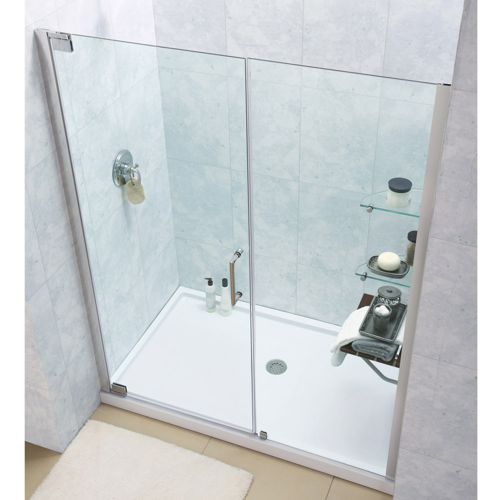 Elegance Frameless Pivot Shower Door & SlimLine 32