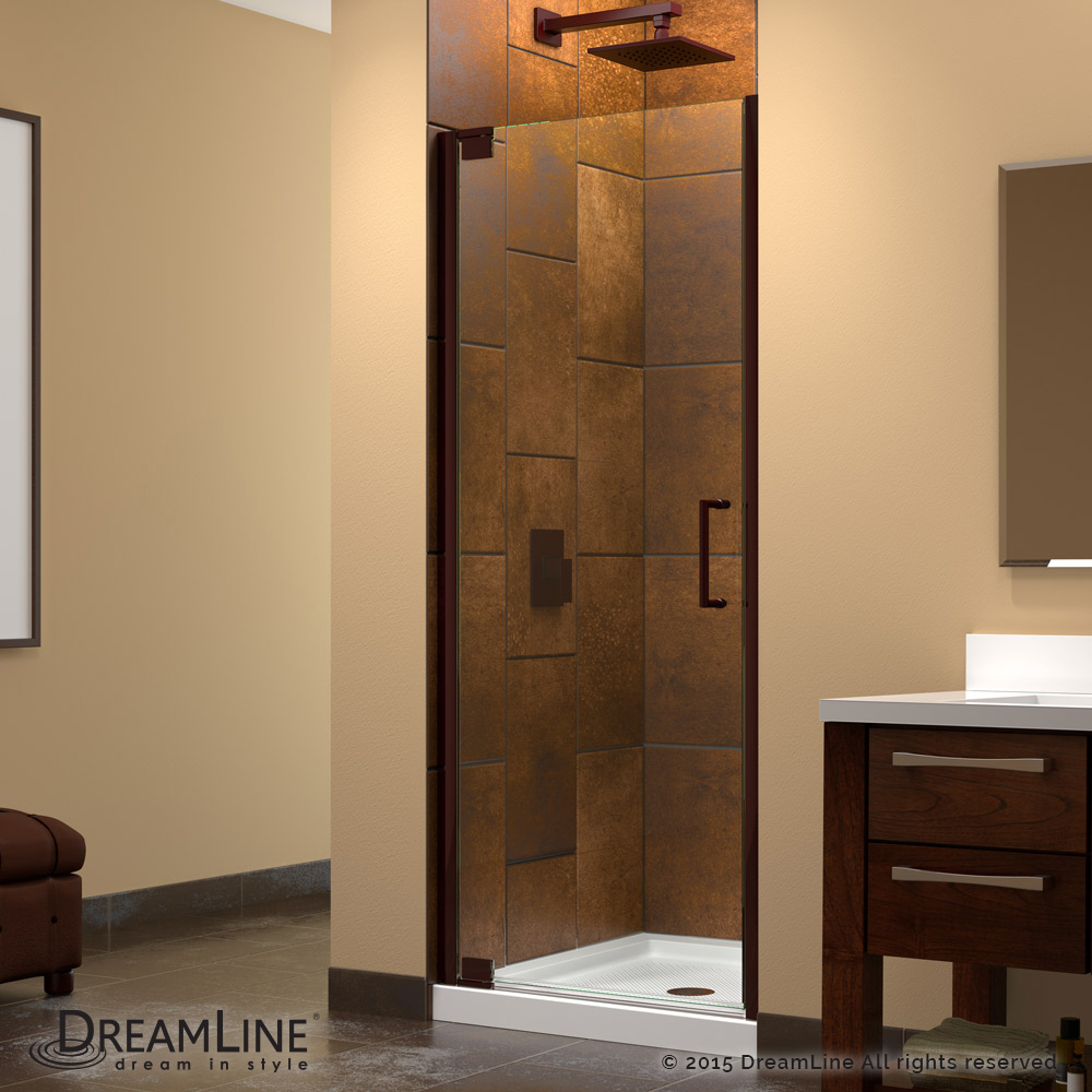 Elegance 34 to 36 in. W x 72 in. H Pivot Shower Door, Oil Rubbed Bronze Finish