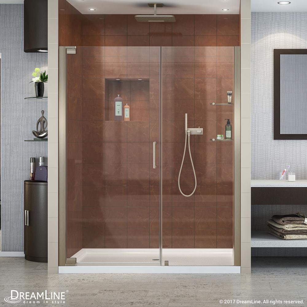 """Elegance 58 to 60"""" Frameless Pivot Shower Door, Clear 3/8"""" Glass Door, Brushed Nickel"""