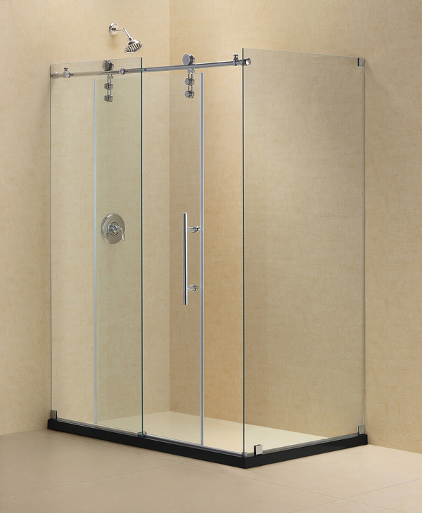 "Enigma-Z 34-1/2"" x 48-3/8"" Fully Frameless Sliding Shower Enclosure, Clear 3/8"" Glass, Brushed Stainless Steel"