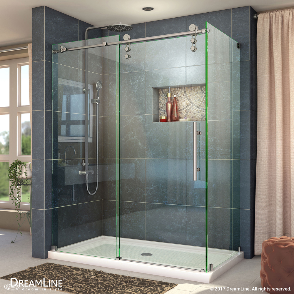 """Enigma-Z 34-1/2"""" x 48-3/8"""" Fully Frameless Sliding Shower Enclosure, Clear 3/8"""" Glass, Brushed Stainless Steel"""
