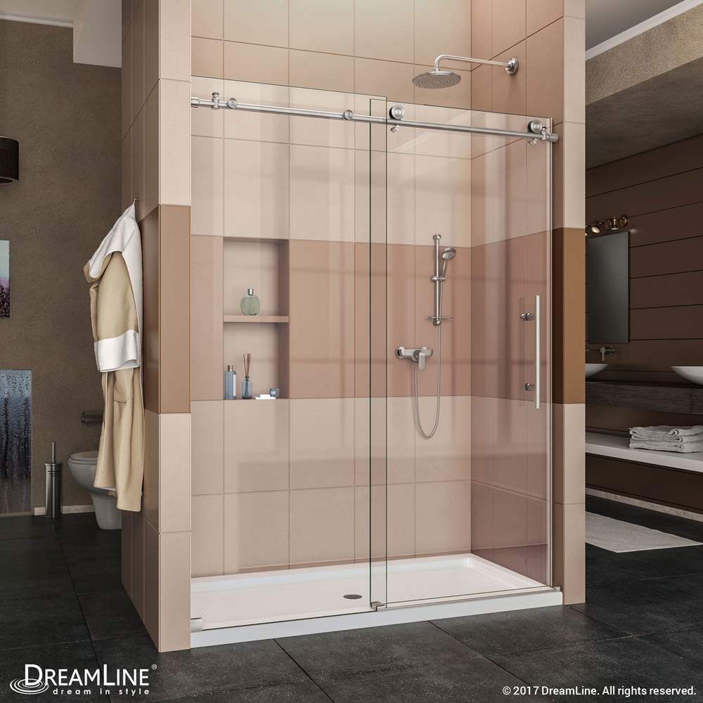 """Enigma-X 56 to 60"""" Fully Frameless Sliding Shower Door, Clear 3/8"""" Glass Door, Brushed Stainless Steel Finish"""