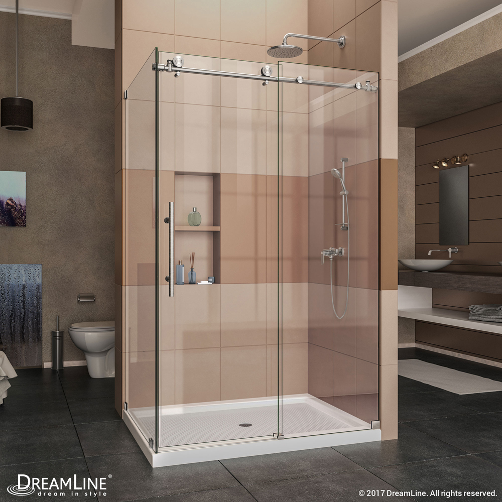 """Enigma-X 34-1/2"""" x 48-3/8"""" Fully Frameless Sliding Shower Enclosure, Clear 3/8"""" Glass, Brushed Stainless Steel"""