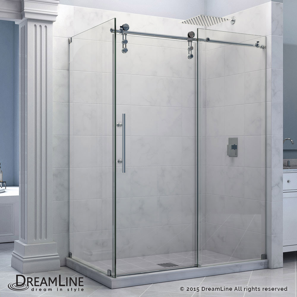 "Enigma-Z 34-1/2"" x 60-3/8"" Fully Frameless Sliding Shower Enclosure, Clear 3/8"" Glass, Polished Stainless Steel"