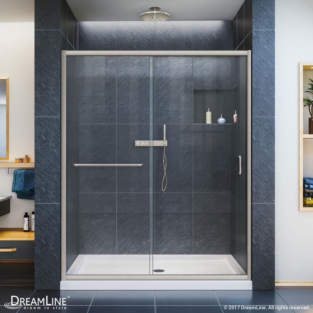 """Infinity-Z 56 to 60"""" Frameless Sliding Shower Door, Clear 1/4"""" Glass Door, Brushed Nickel"""