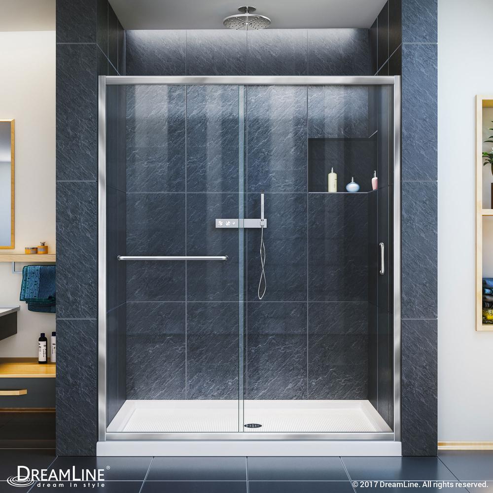 DreamLine Infinity-Z 50-54 in. W x 72 in. H Semi-Frameless Sliding Shower Door, Clear Glass in Chrome