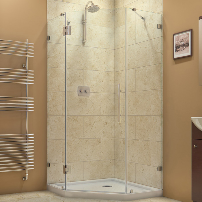 "PrismLux 34-5/16"" x 34-5/16"" Frameless Hinged Shower Enclosure, Clear 3/8"" Glass Shower, Chrome"
