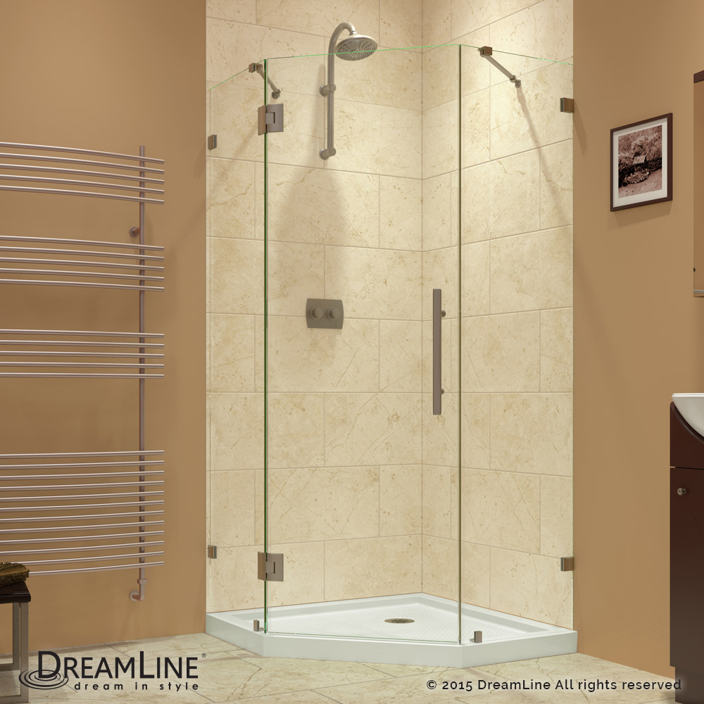 "PrismLux 34-5/16"" x 34-5/16"" Frameless Hinged Shower Enclosure, Clear 3/8"" Glass Shower, Brushed Nickel"