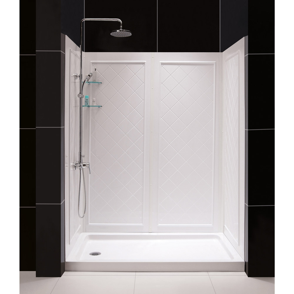 "SlimLine 30"" by 60"" Single Threshold Shower Base and QWALL-5 Shower Backwall Kit"