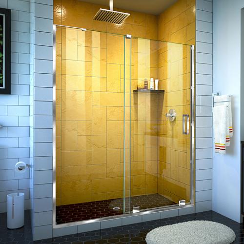 DreamLine Mirage-Z 56-60 in. W x 72 in. H Frameless Sliding Shower Door in Chrome
