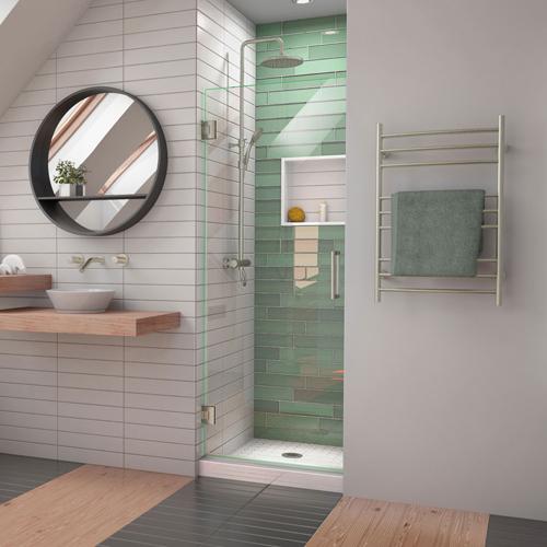 DreamLine Unidoor-LS 24 in. W x 72 in. H Frameless Hinged Shower Door in Brushed Nickel