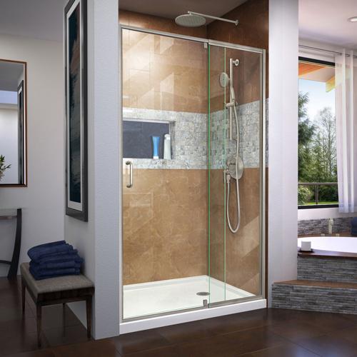 DreamLine Flex 44-48 in. W x 72 in. H Semi-Frameless Pivot Shower Door in Brushed Nickel