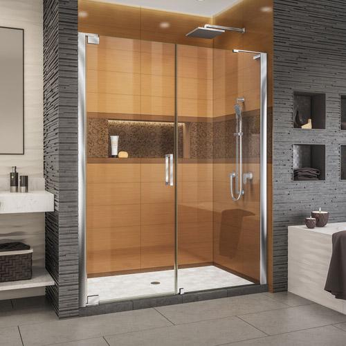 DreamLine Elegance-LS 63 3/4 - 65 3/4 in. W x 72 in. H Frameless Pivot Shower Door in Chrome