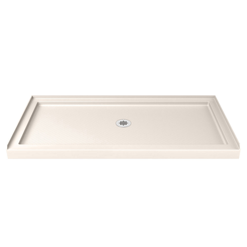DreamLine SlimLine 30 in. by 60 in. Single Threshold Shower Base in Biscuit Color Center Drain
