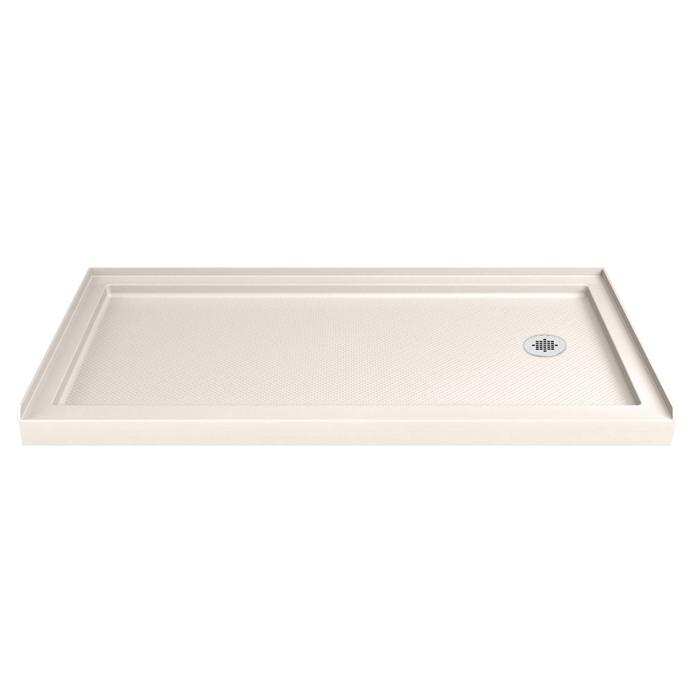 DreamLine SlimLine 30 in. by 60 in. Single Threshold Shower Base in Biscuit Color Right Hand Drain