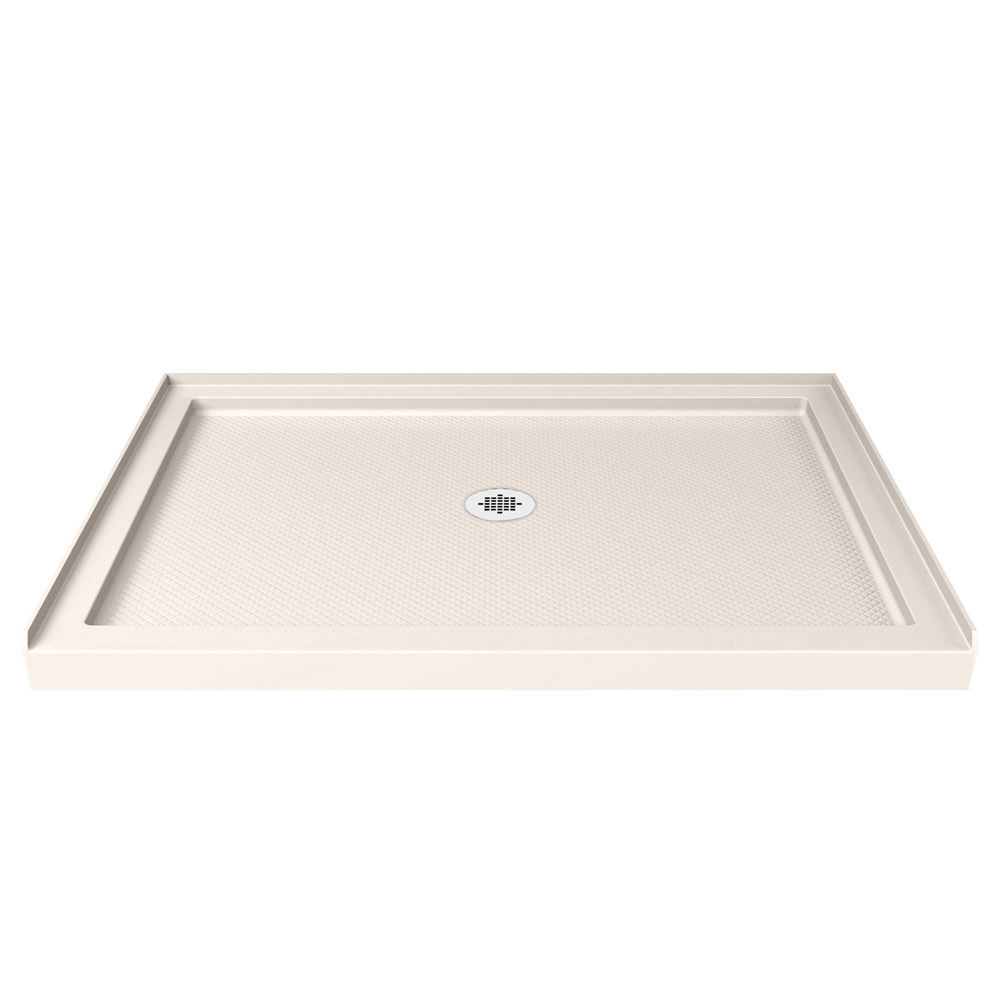 DreamLine SlimLine 32 in. by 48 in. Single Threshold Shower Base in Biscuit Color Center Drain Base