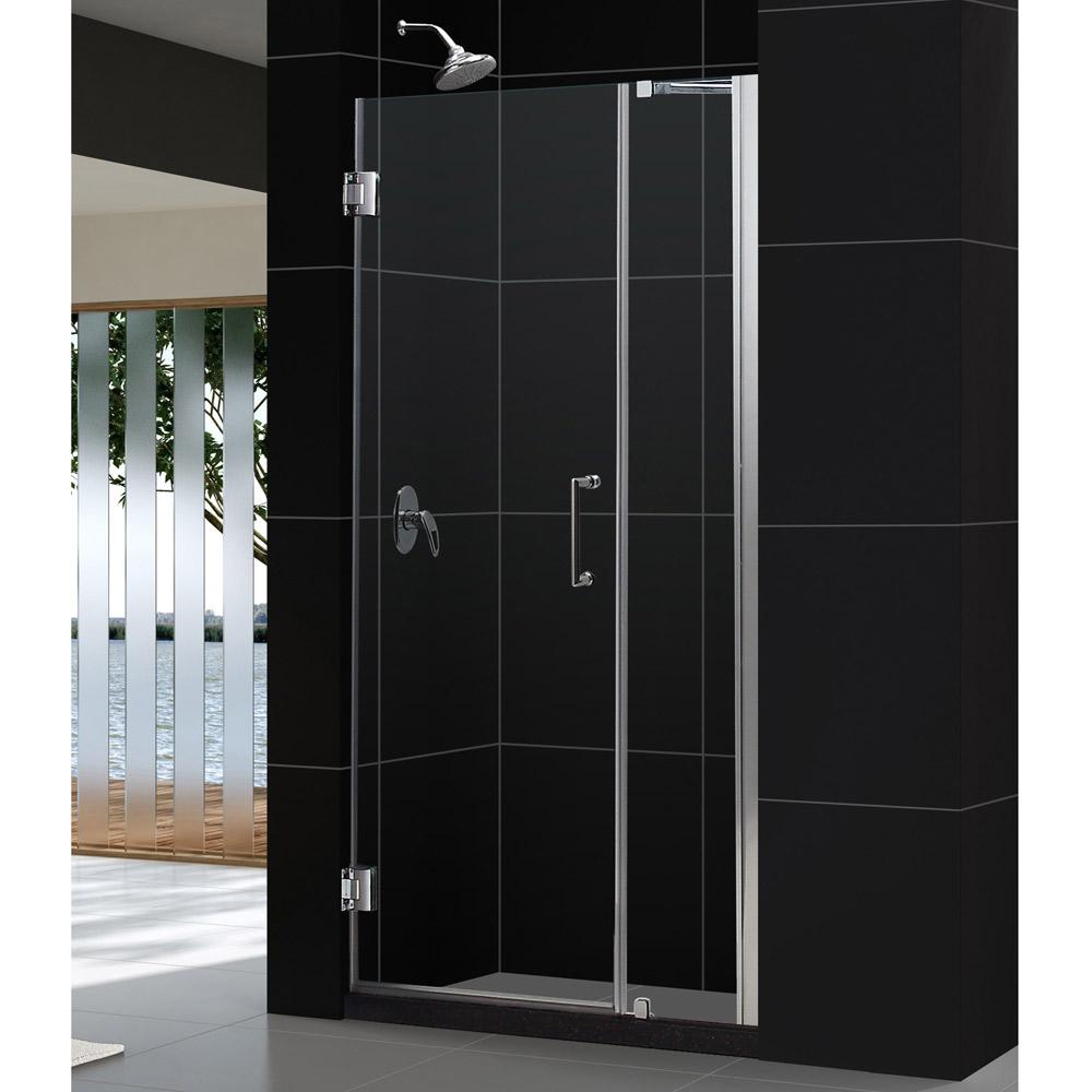 """Unidoor 38 to 39"""" Frameless Hinged Shower Door, Clear 3/8"""" Glass Door, Brushed Nickel"""