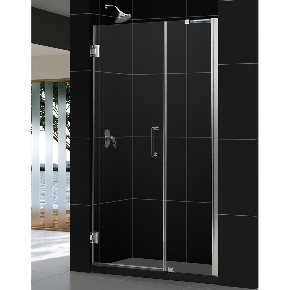 """Unidoor 43 to 44"""" Frameless Hinged Shower Door, Clear 3/8"""" Glass Door, Chrome"""