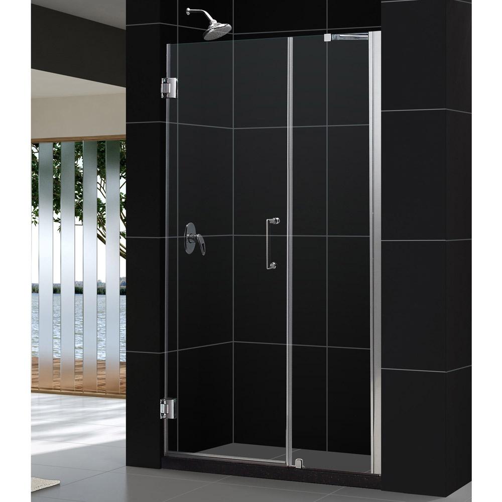"""Unidoor 49 to 50"""" Frameless Hinged Shower Door, Clear 3/8"""" Glass Door, Chrome"""