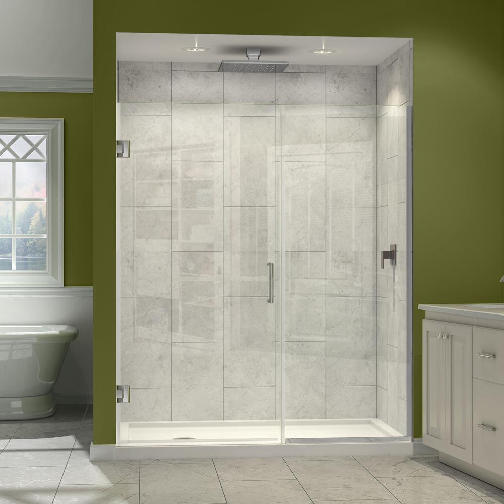 Dreamline Unidoor Plus 41-1/2 to 42 in. W x 72 in. H Hinged Shower Door, Brushed Nickel per EA
