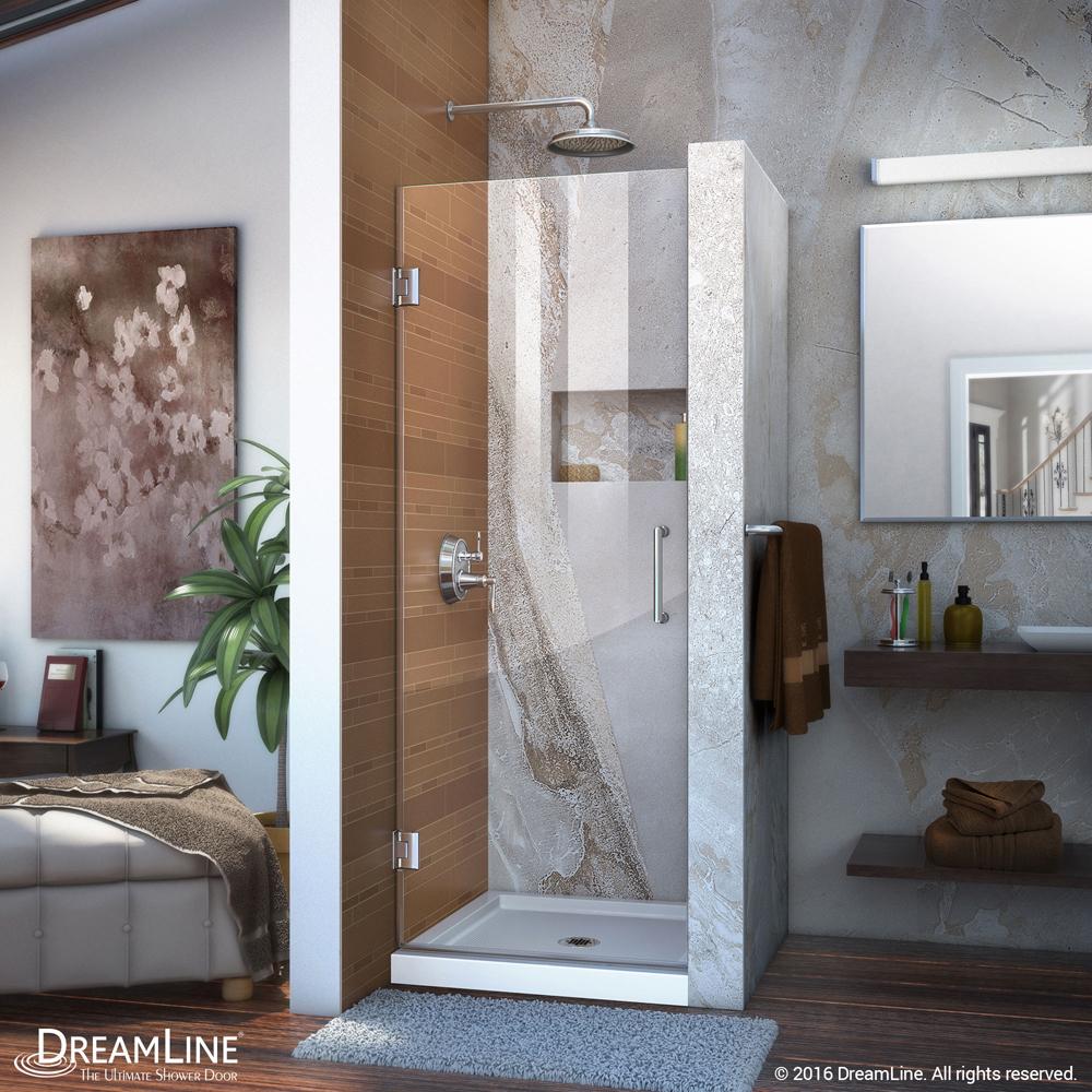 DreamLine Unidoor 24 in. Frameless Hinged Shower Door, Clear 3/8 in. Glass Door, Chrome Finish