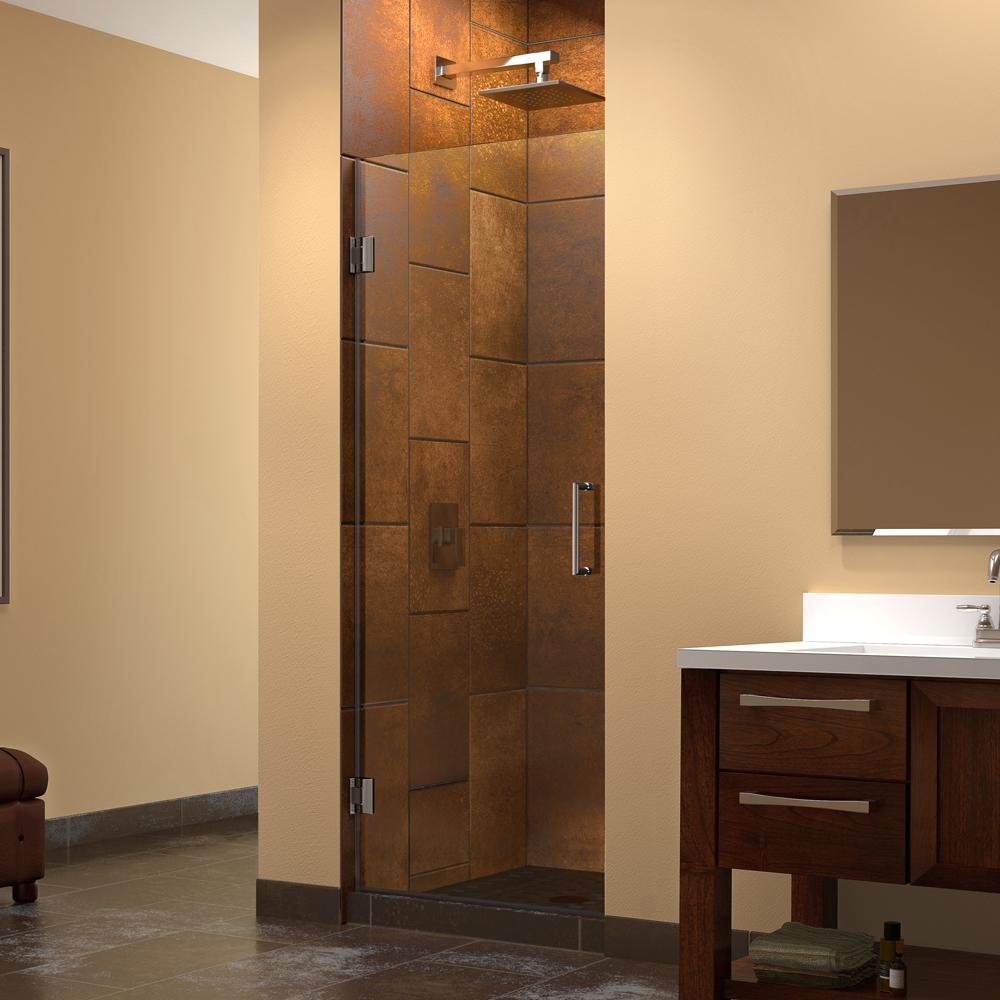 """Unidoor 26"""" Frameless Hinged Shower Door, Clear 3/8"""" Glass Door, Brushed Nickel"""