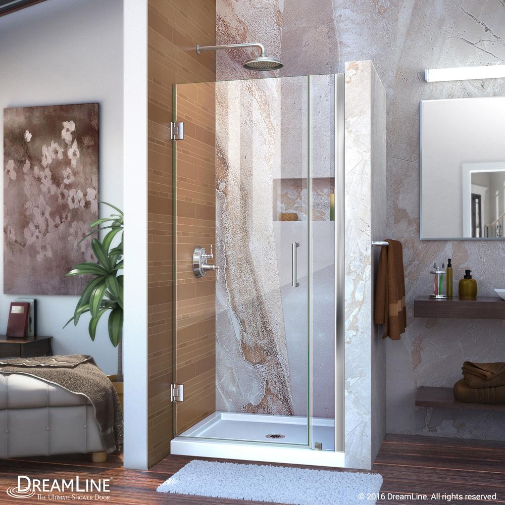 """Unidoor 33 to 34"""" Frameless Hinged Shower Door, Clear 3/8"""" Glass Door, Chrome"""