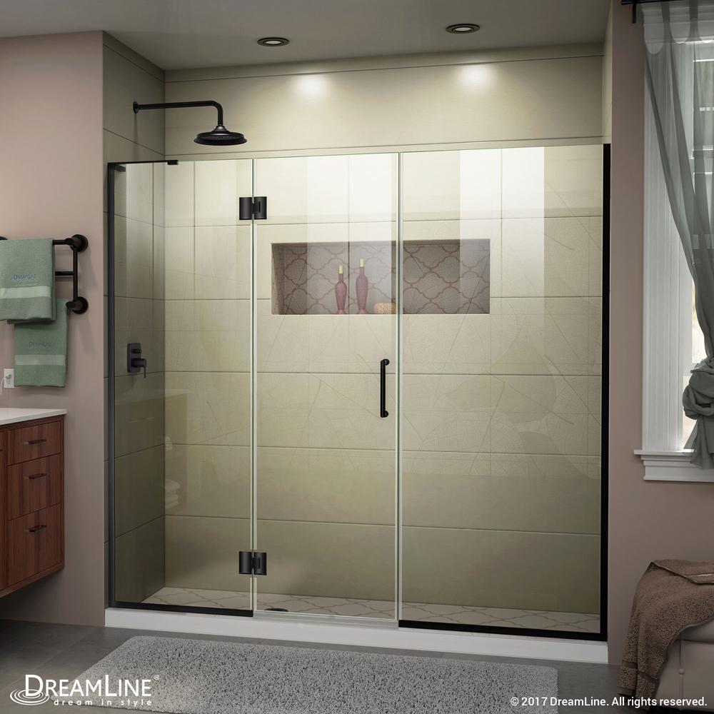 DreamLine Unidoor-X 63 1/2-64 in. W x 72 in. H Frameless Hinged Shower Door in Satin Black