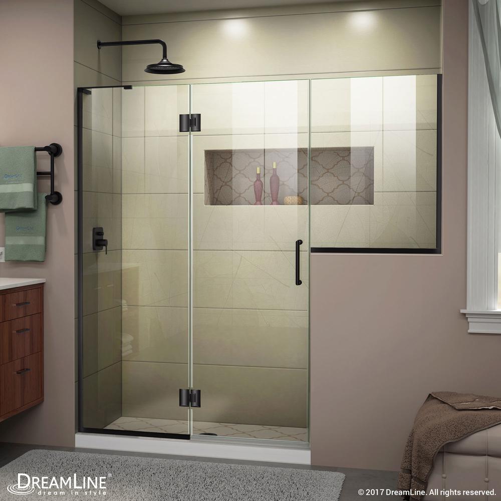 DreamLine Unidoor-X 72-72 1/2 in. W x 72 in. H Frameless Hinged Shower Door in Satin Black