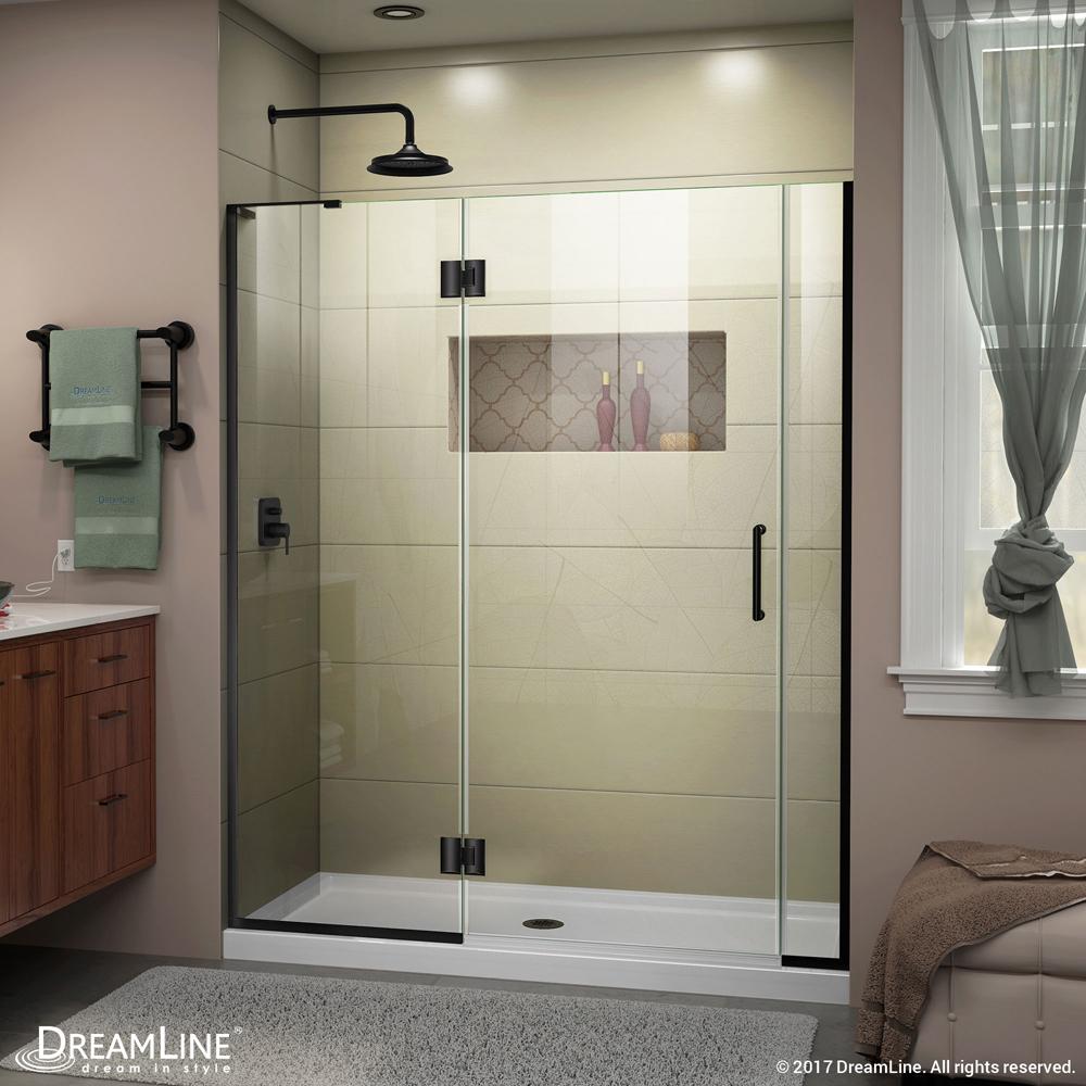 DreamLine Unidoor-X 55-55 1/2 in. W x 72 in. H Frameless Hinged Shower Door in Satin Black