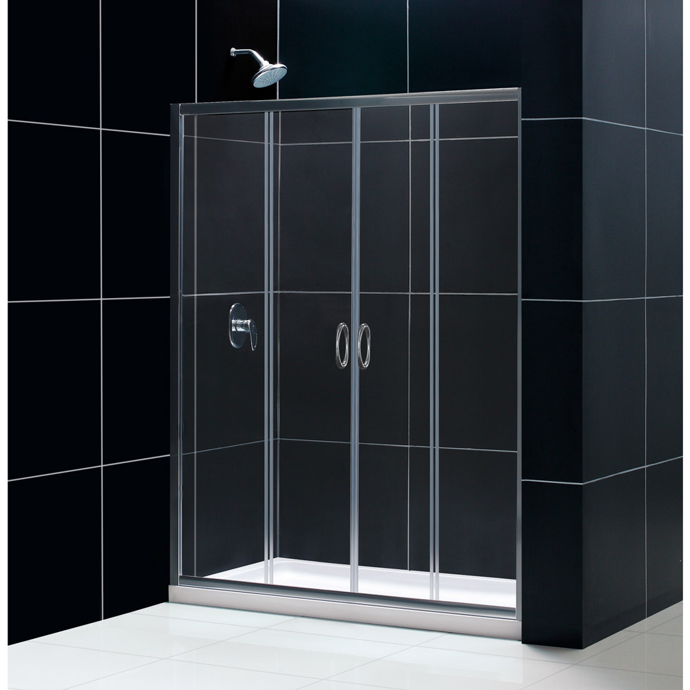 "Visions Frameless Sliding Shower Door, 34"" by 60"" Shower Base & QWALL-5 Shower Backwall Kit"