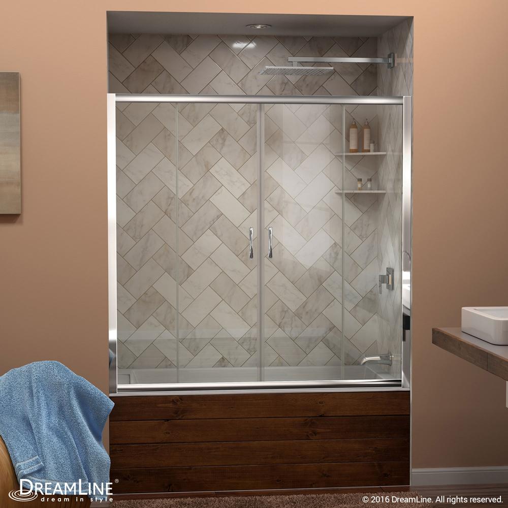 "Visions 56 to 60"" Frameless Sliding Tub Door, Clear 1/4"" Glass Door, Chrome"