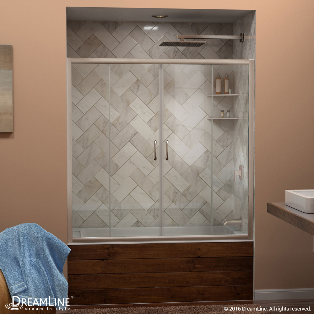 """Visions 56 to 60"""" Frameless Sliding Tub Door, Clear 1/4"""" Glass Door, Brushed Nickel"""
