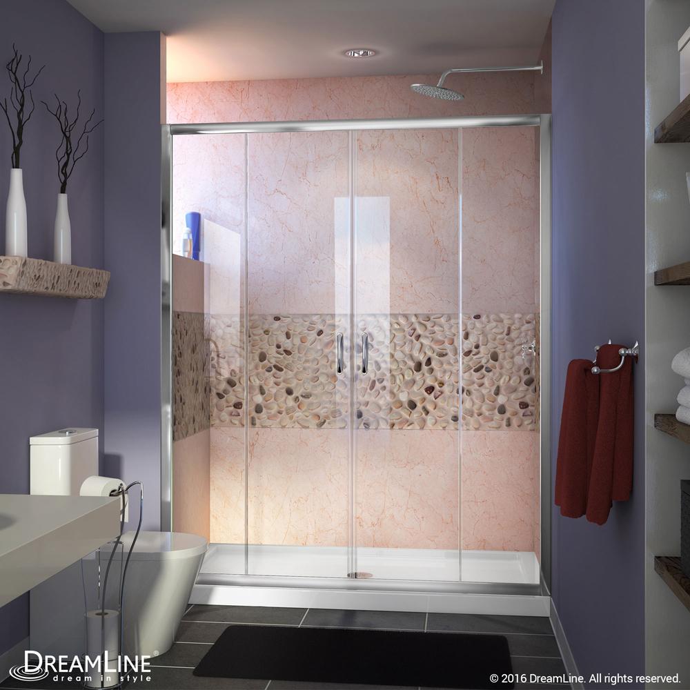 """Visions 56 to 60"""" Frameless Sliding Shower Door, Clear 1/4"""" Glass Door, Chrome"""