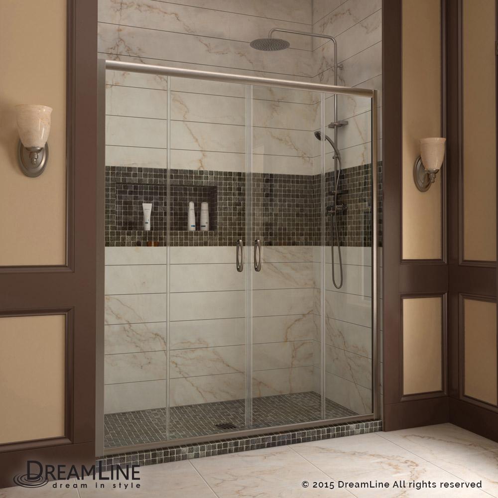 "Visions 56 to 60"" Frameless Sliding Shower Door, Clear 1/4"" Glass Door, Brushed Nickel"