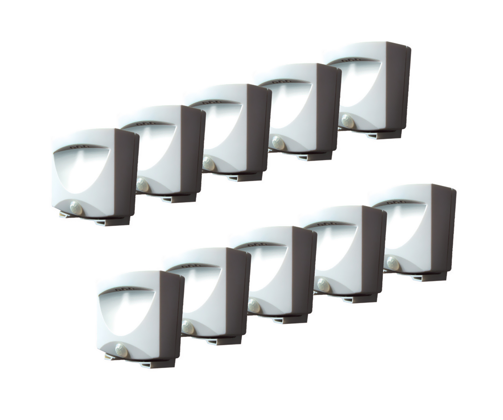 Battery Lights Battery-Powered Indoor / Outdoor Night Light-White 10-Pack (Re-Shippable Packaging Only)