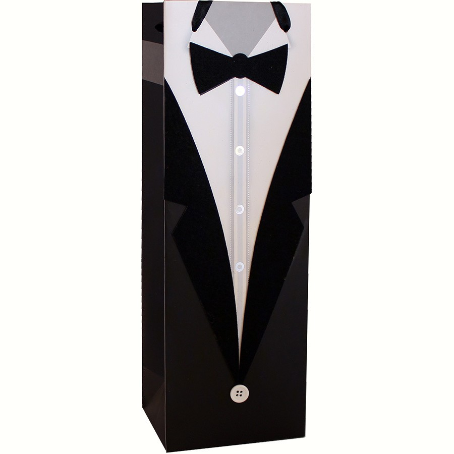 Decorative Paper Single Wine Bag - Tuxedo