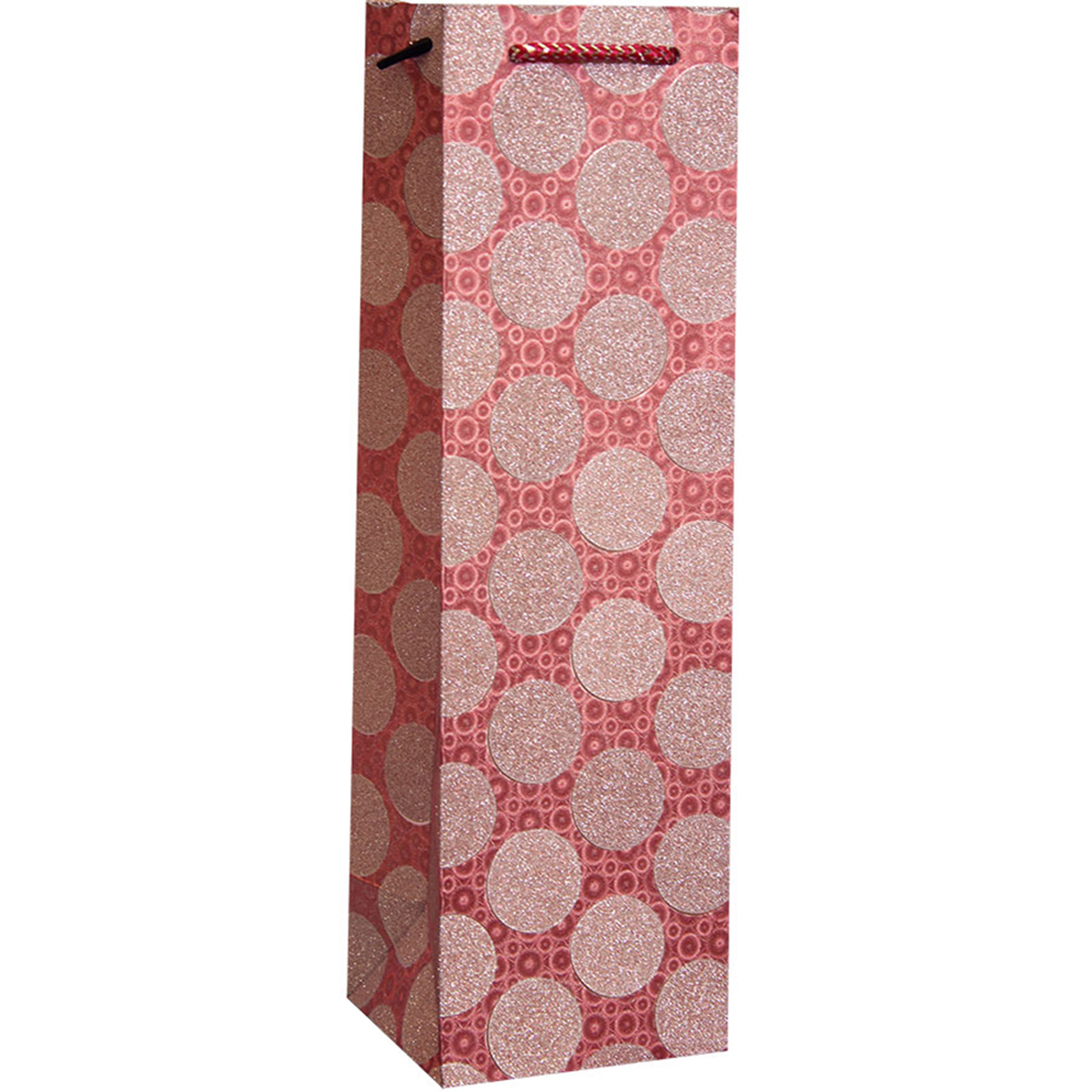 DG1 Pink Circles - Decorative Glitter Printed Paper Bottle Bags