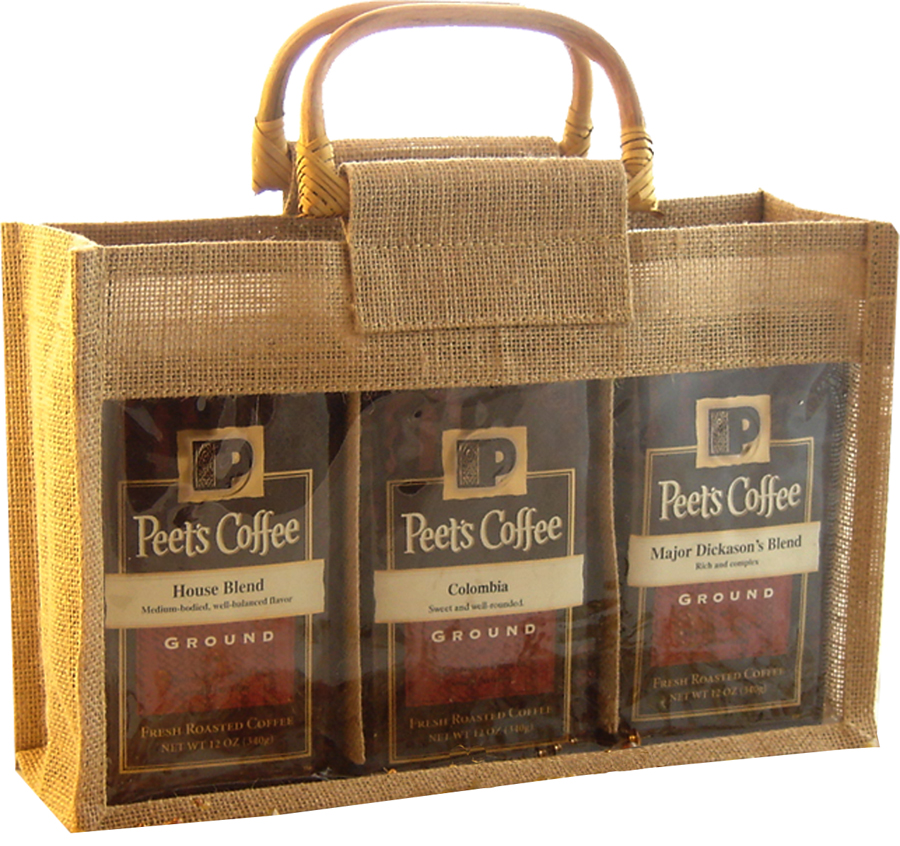 GJC3 Natural - Jute 3 Compartment Coffee Bags