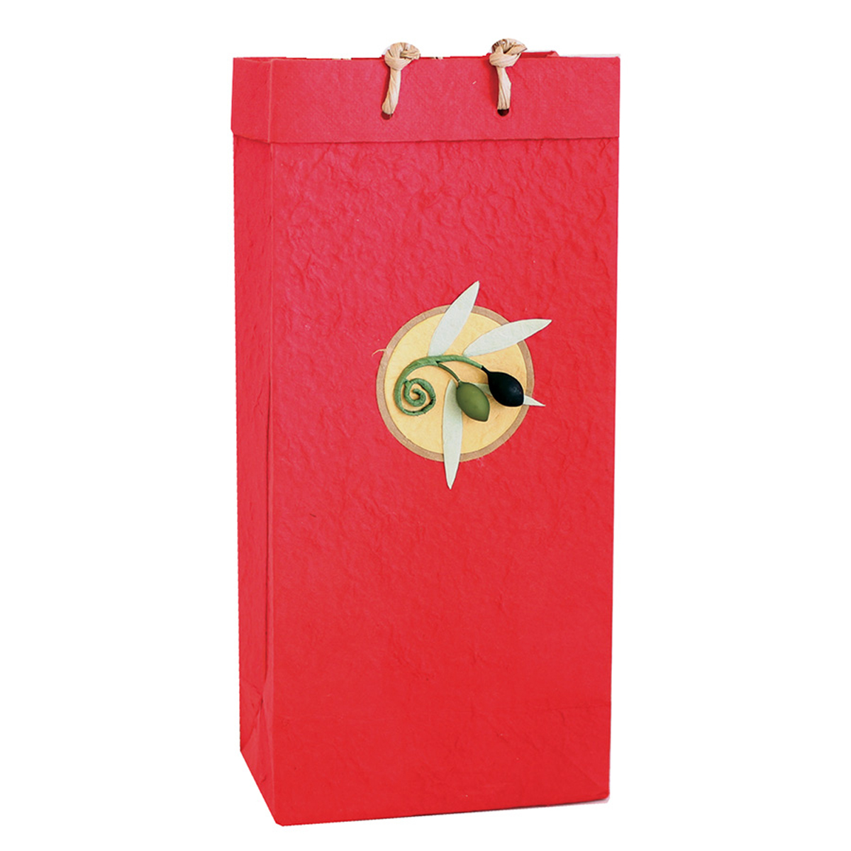 OB2 Castilla Red - Handmade Paper 2 Bottle Olive Oil Bags