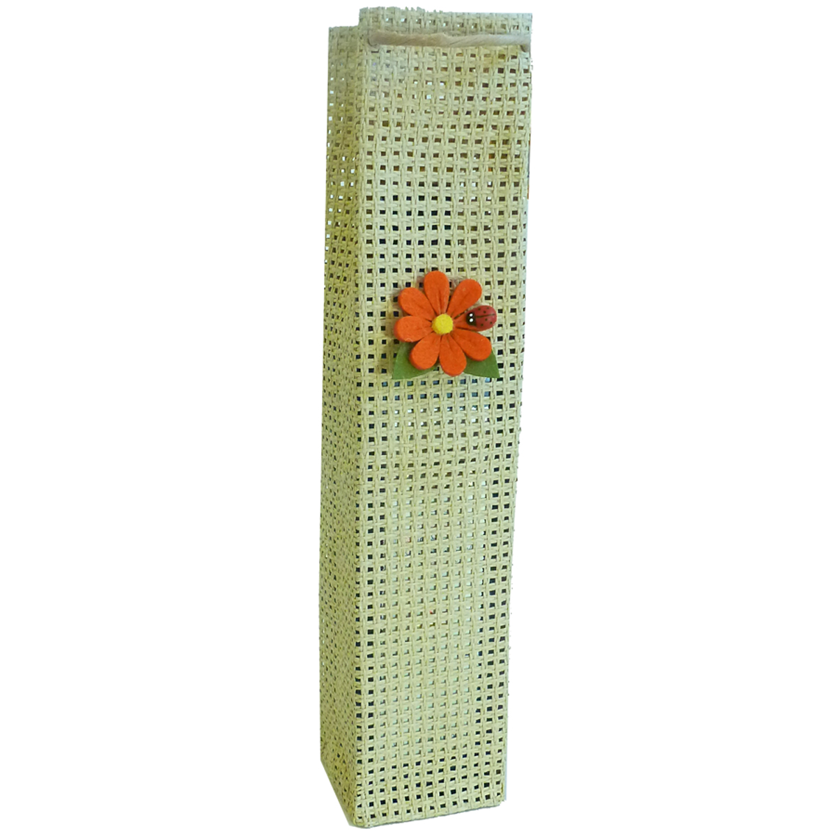 OWP1 Natural Daisy - Woven Paper Olive Oil Bottle Bags