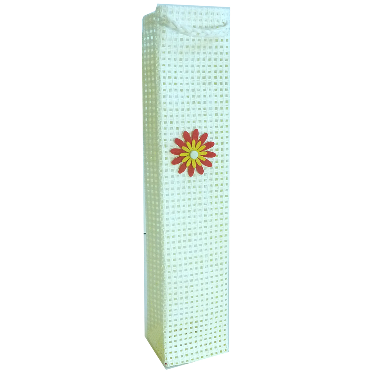 OWP1 White Daisy - Woven Paper Olive Oil Bottle Bags