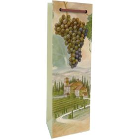 Printed Paper Single Wine Bag - Vineyard