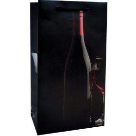 Printed Paper Double Wine Bag - Silhouette