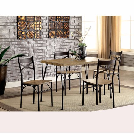 Industrial Style 5 Piece Dining Table Set Of Wood And Metal, Brown And Black